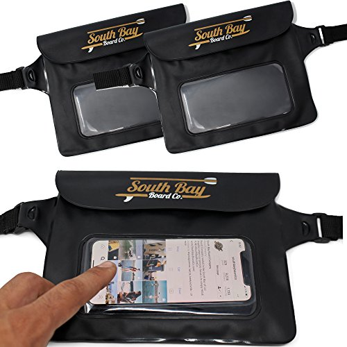 Gold Coast Surfboards Waterproof Phone Pouch - || Waterproof Fanny Pack || - Touch Screen Capable Clear Window Fanny Pack - ISUP/Kayak/Camping/Travel Water Proof Phone Pouch [2 PACK] by Gold Coast Surfboards