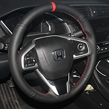 For Honda Civic Car Carbon Fiber Leather Steering Wheel Cover Sport Racing
