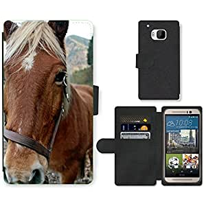 Hot Style Cell Phone Card Slot PU Leather Wallet Case // M00109991 Horse Animal Horse Head Portrait // HTC One M9