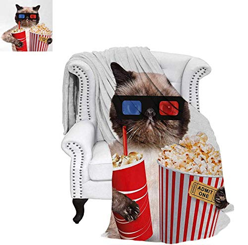 Popcorn Flannel - Custom Design Cozy Flannel Blanket Cat with Popcorn and Drink Watching Movie Glasses Entertainment Cinema Fun Weave Pattern Blanket 70