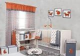 Bacati Playful Foxs 10 Piece Crib Set without Bumper Pad, Orange/Grey