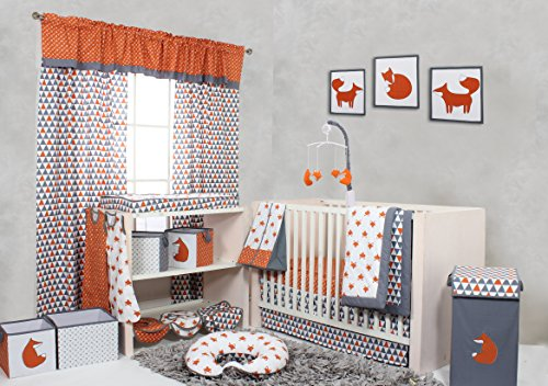10 Piece Crib Set without Bumper Pad, Orange/Grey ()