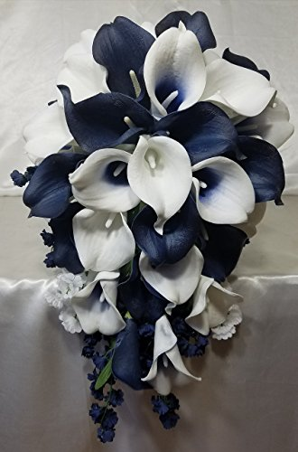 Navy Blue Ivory White Calla Lily Cascading Bridal Wedding Bouquet & Boutonniere by bridalweddingbouquets
