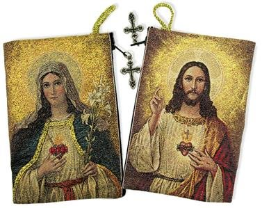 Religious Gifts Sacred Heart with Immaculate Heart Tapestry Rosary Pouch Keepsake 5 3/8 Inch