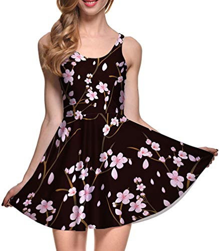 Jescakoo Ladies Summer Tunic Dresses for Party Plum Floral Skater Party Dress