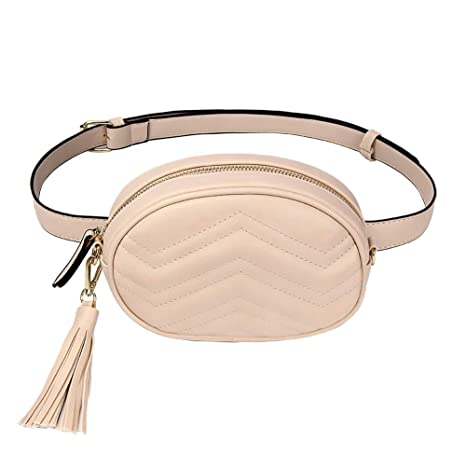 cc6dc0a3dea Amazon.com | TJEtrade Fanny Packs for Women Fashion Waist Bag Leather Belt  Bum Bag Waterproof (Beige) | Waist Packs
