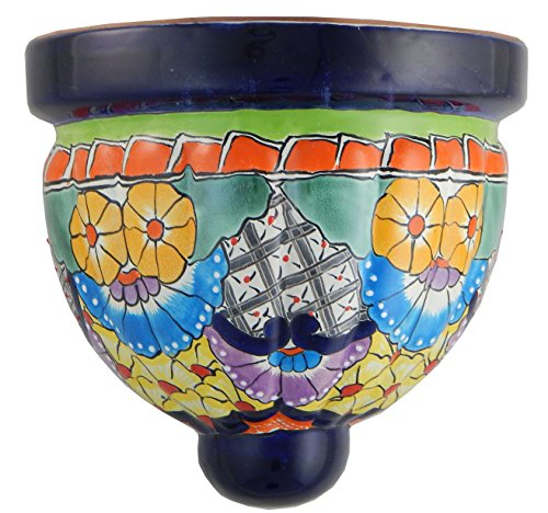 (Mexican Talavera Wall Planter Handmade Hand Painted Pottery Planter Wall Hanging Sconce Planter # 13)