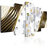 Konda Art - Large Golden Orchids White Flower Artwork Canvas Wall Art Modern Home Decorative Painting HD Picture Floral Prints for Bedroom Framed and Ready to hang (80''x40'')
