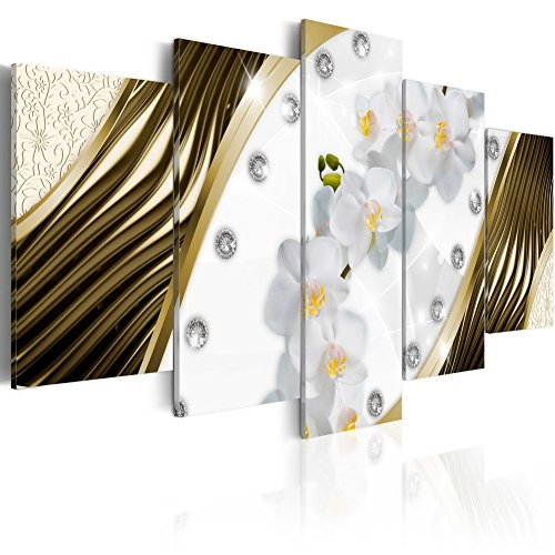 Konda Art - Large Golden Orchids White Flower Artwork Canvas Wall Art Modern Home Decorative Painting HD Picture Floral Prints for Bedroom Framed and Ready to hang (80''x40'') by Konda Art