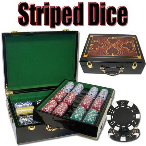 500 Ct Striped Dice Poker Chip Set w/ High Gloss Wooden Case