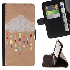 Nube Dibujo colorido de Brown- Modelo colorido cuero de la carpeta del tirón del caso cubierta piel Holster Funda protecció Para Apple Apple iPhone 4 / iPhone 4S