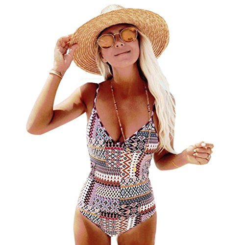 Women One Piece Swimsuit Sexy Sling Bohemian Style Line Printed Push-Up Padded Bra Bathing Suit Rompers (M, Multicolor)