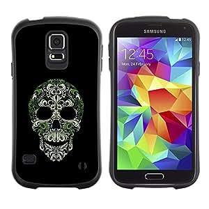 """Pulsar iFace Series Tpu silicona Carcasa Funda Case para Samsung Galaxy S5 , Cráneo Bling Naturaleza Plata Verde Esqueleto"""""""