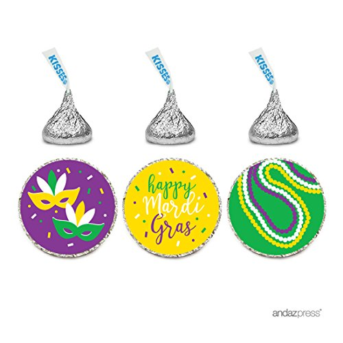 Andaz Press Chocolate Drop Labels Trio, Fits Hershey's Kisses Party Favors, Mardi Gras, 216-Pack, Envelope Seals (Mardi Gras Stationery)