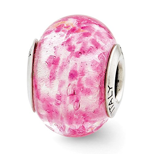 925 Sterling Silver Charm For Bracelet Pink Italian Murano Glass Bead Glas Fine Jewelry Gifts For Women For Her