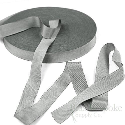 (3 Yards of Vera 1'' Cotton & Viscose Petersham Grosgrain Ribbon, Silver Gray, Made in Italy)
