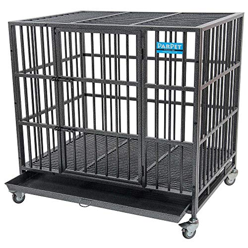 PARPET 42 Inch Empire Heavy Duty Dog Crate with Wheels/Steel Tray for Large Dogs, Hammertone