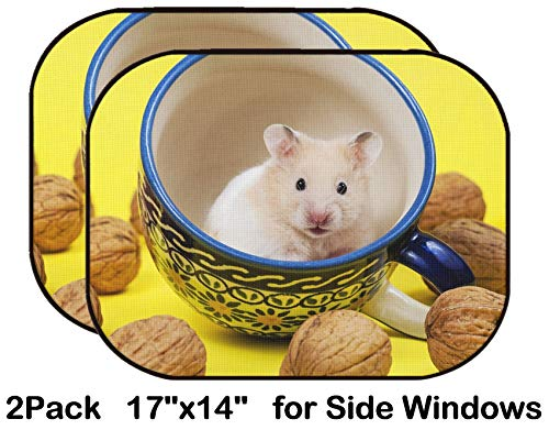Liili Car Sun Shade for Side Rear Window Blocks UV Ray Sunlight Heat - Protect Baby and Pet - 2 Pack Hamster in a Colorful Cup for Tea Image ID 19856130