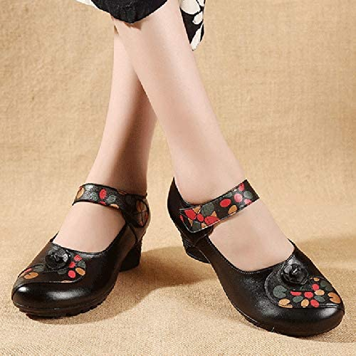 Womens Comfortable Leather Soft Round Toe Middle Heel Mary Jane Shoes