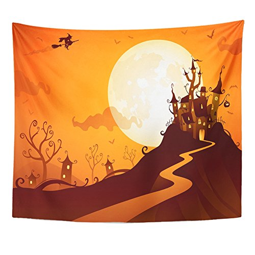 Emvency Tapestry Mandala 50x60 inch Home Decor Orange House Halloween Castle Witch Fantasy Fun Vampire Backlit Bat Cartoon For Bedroom Living Room Dorm for $<!--$17.90-->