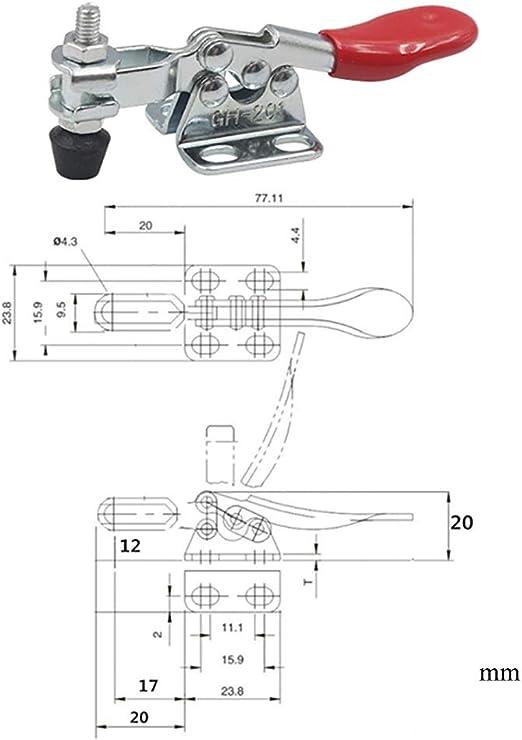 dans la chambre. Horizontal Attache rapide En m/étal Robuste 27 kg Capacit/é pour fonctionnement en machine Lot de 6 tendeurs de levier de serrage de genou Horizontal Non d/érapant