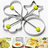 1 Pc Egg Molds Stainless Steel Star Flower Heart Circular Shapes Pancake Egg Rings Omelette Egg Mold Cute Breakfast Tools