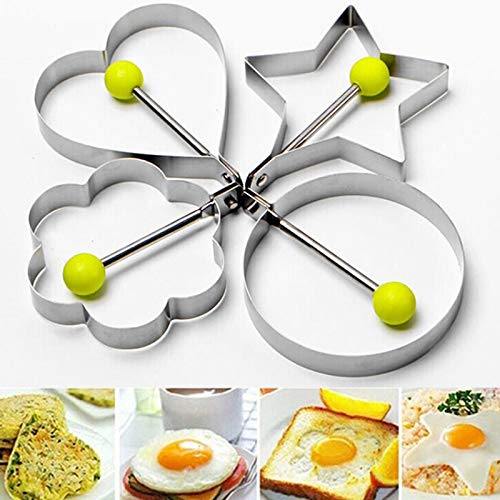 Portable 1PCS Egg Mold Stainless Steel Round Flower Heart Shape Omelette Mould Biscuit Frying Egg Rings Mold Cooking Tools by Nattel