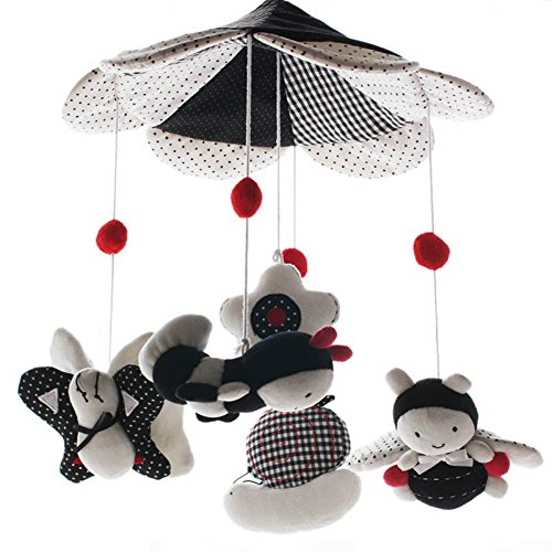 SHILOH Baby Newborn Crib Mobile Plush Canopy Toys without musical box or arm-B (White Black)