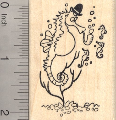 Seahorse Rubber Stamp, Father with Baby Fries, Father's Day