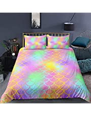Feelyou Mermaid Fish Scales Duvet Cover Set Full Size Colorful Scales Bedding Set for Girls Teens Luxury Soft Microfiber Comforter Cover with 2 Pillow Shams, Zipper, Vibrant 3 Pcs