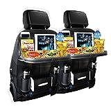 Car Seat Back Organizer for Kids with Foldable Car Dining Table Touch Screen Tablet Holder Bottles Holder,Multi-Pocket Travel Storage Bag (Black-2PC)