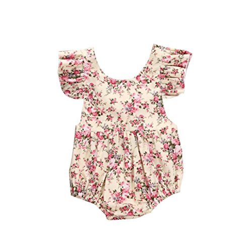 (Funic Newborn Infant Kids Baby Girls Floral Print Romper Jumpsuit Outfit Playsuit Clothes (18-24 Months, Beige))