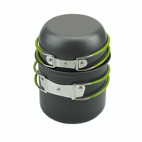 Ollas sartenes antiadherentes HeroNeo tazones senderismo al aire libre Portable cocina conjunto utensilios de cocina