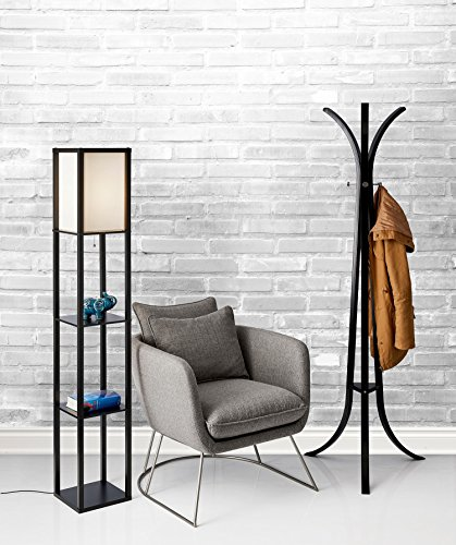 Adesso 3138 01 wright 63 in floor lamp smart switch compatible adesso 3138 01 wright 63 in floor lamp smart switch compatible light fixtures with two storage shelves lighting accessories paper lantern lamps mozeypictures Images