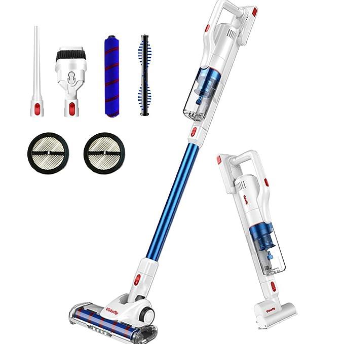 Vistefly V10 Pro Aspiradora sin Cable Potente 22KPa Aspirador Escoba Vertical 2 en 1 Potente Aspiración Inalámbrico con Batería Extraíble