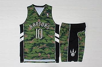 ba608dc6c uk nba toronto raptors no.10 deronzan basketball suit camouflage basketball  jersey and shorts m