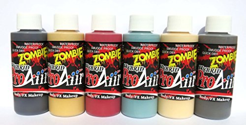 Face Painting Makeup - ProAiir Waterproof Makeup - Second Set of 6 Ghoulish Zombie Colors - 4.2 oz (120ml) by ShowOffs Body Art