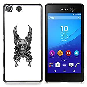 - Wings Guns White Black Death Skull - - Snap-On Rugged Hard Cover Case Funny HouseFOR Sony Xperia M5