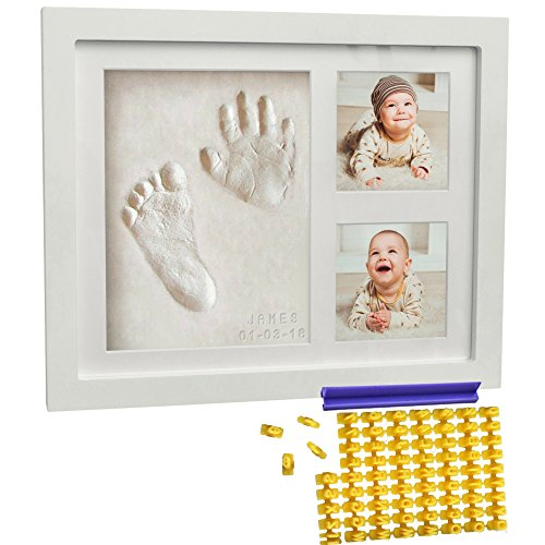 Footprint Frame - Baby Handprint Kit & Footprint Kit (FREE Date & Name Stamp) Clay Picture Frame for Newborn - Hand Impression Photo Keepsake - Best Shower Gifts Set for Girls and Boys - Unique White Foot Print No Mold