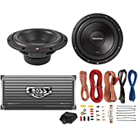 2) Rockford Fosgate R2D2-10 10 1000W 2-Ohm Car Subs + 1600W 2-Ch Amp + Amp Kit