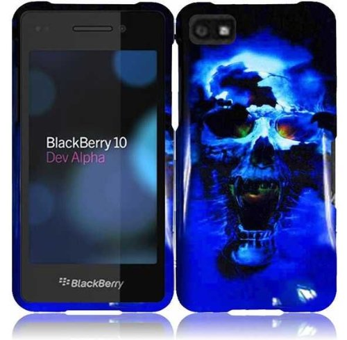 LF Blue Skull Designer Hard Case Protective Cover, Lf Stylus Pen and Lf Screen Wiper Bundle Accessory for Blackberry Z10 (AT & T, T Mobile, Sprint, Verizon) Blackberry Blue Faceplates