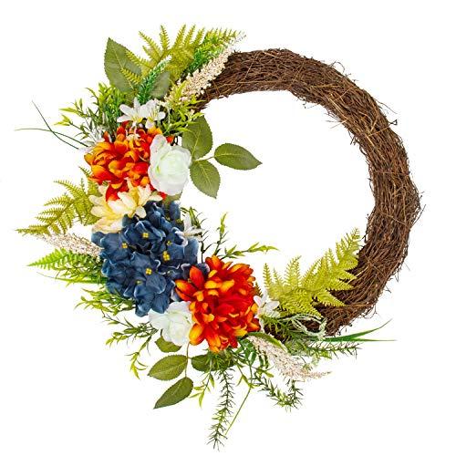 KI Store Summer Wreath for Front Door Half Floral Wreath Patriotic Wreath with US Flag for Door Window 18-inch]()