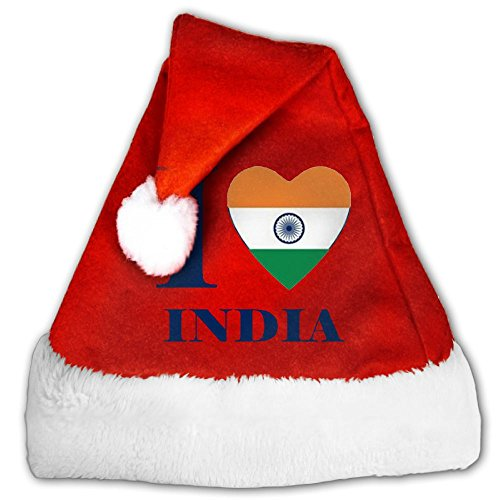 I Love Lucy Dress Costumes (Christmas Cap I Love India Heart Flag Great For Christmas Parties,perfect For Youth Small)