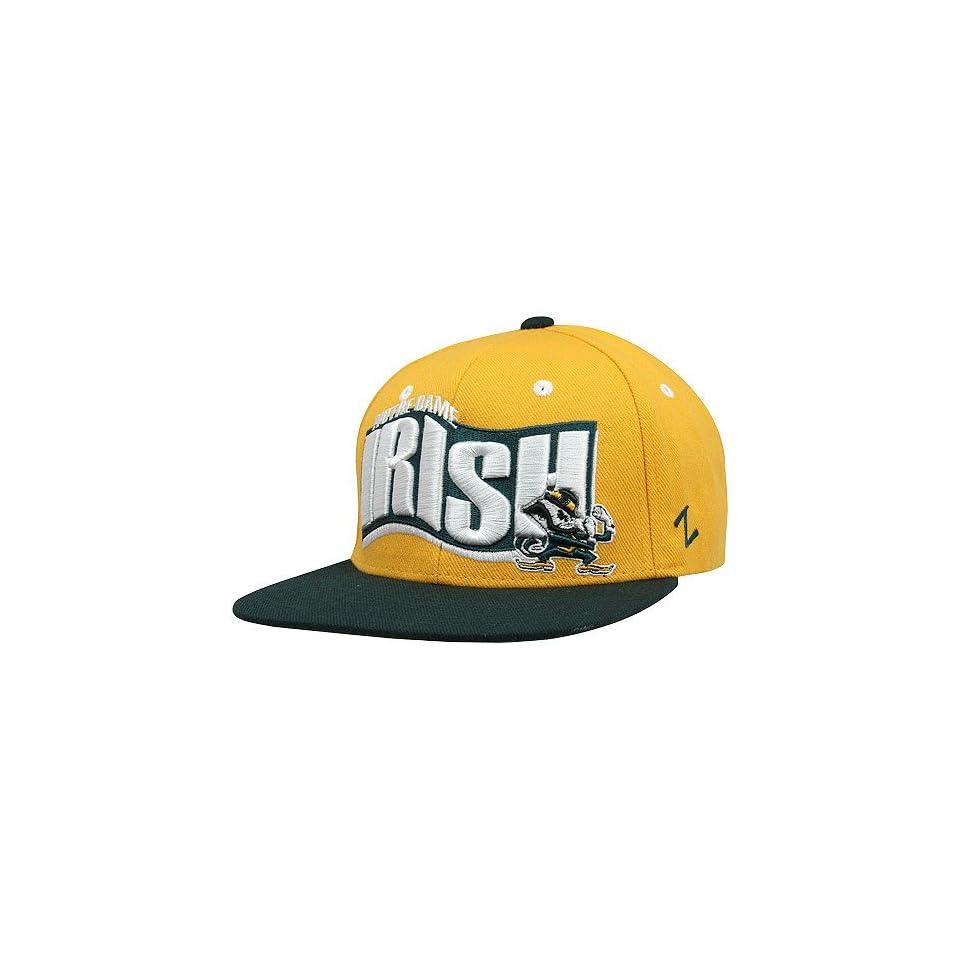 NCAA Zephyr Notre Dame Fighting Irish Rally Adjustable Snapback Hat   Gold/Green