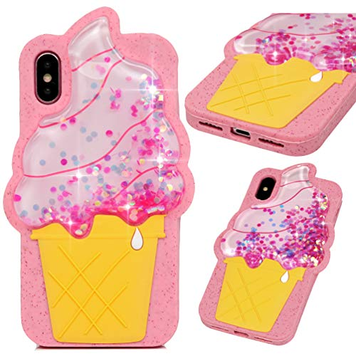 iPhone Xs Case, iPhone X Case, Pink Ice Cream Liquid Sparkle Glitter Diamond Clear TPU Shell Bling Design for Girl Woman Gifts Quicksand Cute Star Flowing Cover for iPhone Xs/X 5.8''