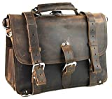 Vagabond Traveler 16'' Large Classic Full Gain Leather Briefcase Backpack (Heavy 7LB) L09. Dark Vintage