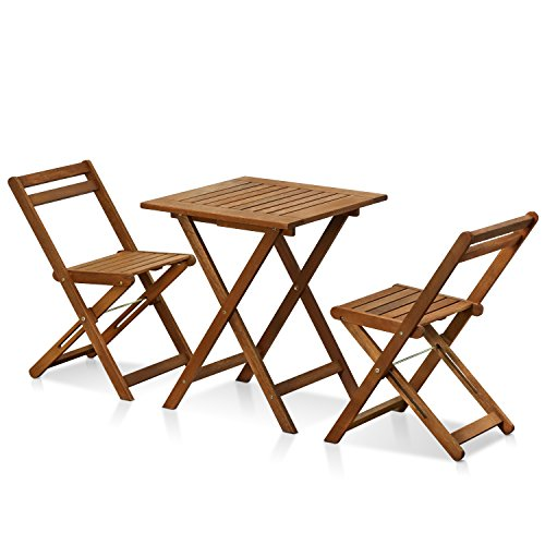 Furinno FG3611298 Tioman Hardwood Patio Furniture Outdoor 3 Piece Bistro Set, ()