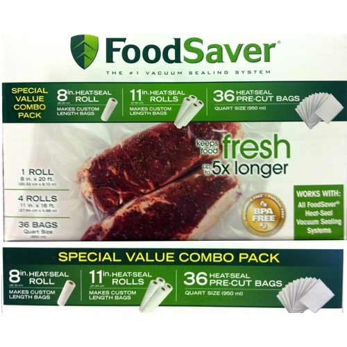 "FoodSaver Special Value Vacuum Seal Combo Pack 1-8""Roll; 4-11""Rolls; 36 Pre-Cut Bags"