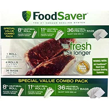 FoodSaver Special Value Vacuum Seal Combo Pack 1-8 Roll; 4-11 Rolls; 36 Pre-Cut Bags