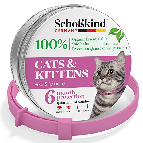 Flea Collar - Tick Collar for Cats - Made for Germany - 100% Safe & Eco-Friendly - Based on Natural Oils - Flea and Tick Prevention Pets - 6-Month Protection - Waterproof Cat Flea Collar (Pink) by Organic Way